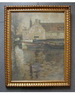 Frans Holst, 'Huisje op het water, Den Haag', pastel (1917)