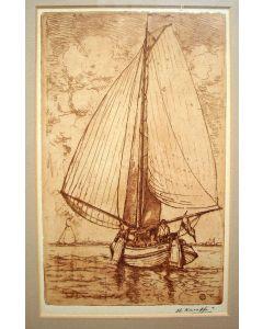 Herman Heuff, 'Vissersboot op de Zuiderzee', ets