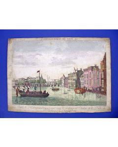 Opticaprent met illuminatie, de Halvemaansbrug te Amsterdam, 18e eeuw