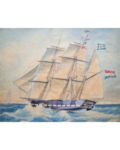 Jacob Spin, het barkschip Johanna Maria, aquarel, 1849