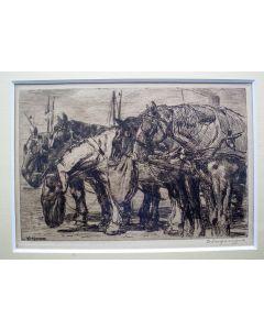 W.J. Dingemans, 'Sleperspaarden', ets