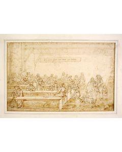Jan Fabius Czn, Voedselverstrekking in een armenhuis,  sepiatekening, ca. 1850
