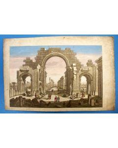 Opticaprent met illuminatie, Romeinse tempel te Palmyra, 18e eeuw