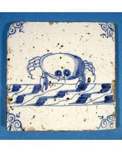 Diertegel, krab, ca. 1700