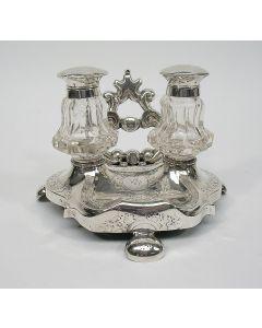 Zilveren en kristallen inktstel, 1860