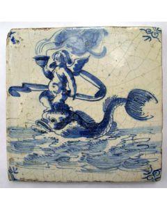 Tegel, zeewezens, ca. 1700
