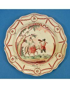 Staffordshire creamware bord met de voorstelling van de Vlucht naar Egypte, ca. 1780.