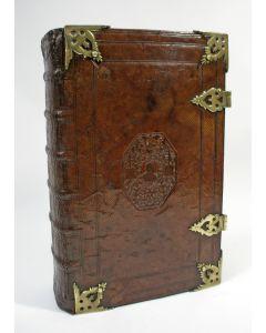 Lutherse bijbel in leren band, uitgave Jacob Lindenberg, 1702, met talrijke kaarten en prenten door Romeyn de Hooghe