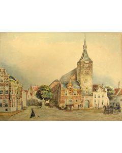 Gerrit Jan Scheurleer, Stadsgezicht van Hattem, aquarel, 19e eeuw