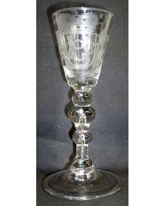 Gegraveerd wijnglas, Gelderland, 18e eeuw