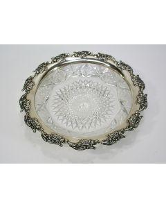 Kristallen fruitschaal met zilveren rand, ca. 1900