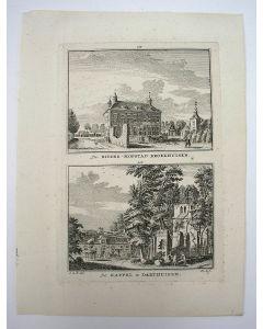 De Ridder-Hofstad Broekhuisen en De Kapel te Darthuizen, gravure door H. Spilman, ca. 1750