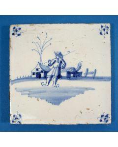 Tegel met schaatsenrijder, ca. 1800