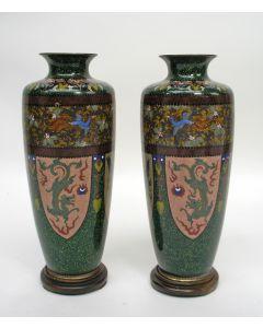 Stel Japanse cloisonné vazen, Me-Ji, ca. 1900