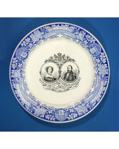 Herdenkingsbord Koning Wiillem III en Koningin Sophie, vervaardigd voor Nederlands-Indië, 1864
