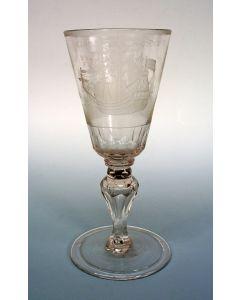 Gegraveerd wijnglas, Het Lands Welvaren, 18e eeuw