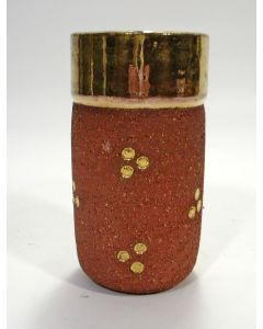 Cris Agterberg, deels vergulde chamotte-aardewerk vaas, uitgevoerd bij Westraven, 1938