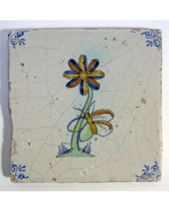 Polychrome bloemtegel, 17e eeuw
