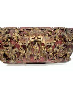 Chinees houten snijwerk, hofvoorstelling, 19e eeuw
