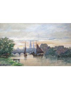 Marinus Heijl, stadsgezicht Amsterdam, aquarel