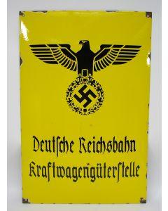 Emaille bord, 'Deutsche Reichsbahn - Kraftwagengüterstelle', periode Derde Rijk.