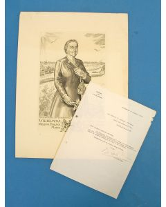 Engelien Reitsma-Valença, portret van Koningin Wilhelmina, 1947, met begeleidende brief van haar privésecretaris, Max Kohnstamm