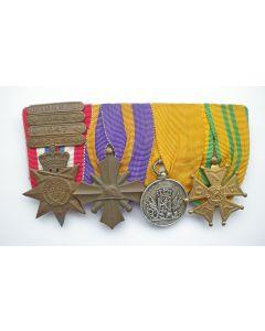 Spang van vier onderscheidingen van een militair, ca. 1935-1955
