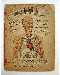 'Het menschelijk lichaam, zijn bouw en zijne uitwendige organen. Aanschouwelijk voorgesteld met vijf beweegbare, gekleurde platen' (ca. 1890)