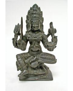 Bronzen beeldje, vierarmige Shiva, India, 19e eeuw