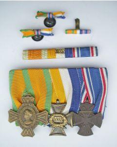 Spang van drie onderscheidingen van een officier, periode W.O. I en W.O. 2, ca. 1914-1948