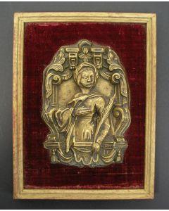 Messing reliëf, vrouwelijke heilige, 18e eeuw