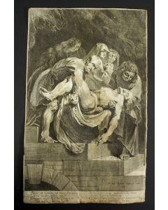 Jonas Suyderhoef, De graflegging van Christus, gravure naar Caravaggio, ca. 1640