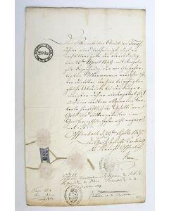 Documenten in handschrift: Toestemming tot het herkeuren in Nederland van door een Hessische zilversmid vervaardigd zilverwerk, Utrecht 1837