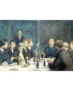 Nicolaas van der Waay, Kunstenaarsmaaltijd, Amsterdam, aquarel, 1883