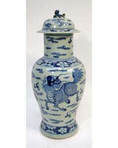 Chinese porseleinen dekselvaas, 19e eeuw