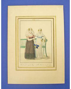 'Friesch en Groningsch meisje', handingekleurde gravure, 1829