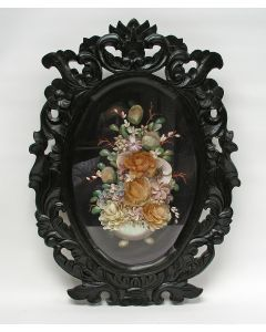 Assemblage van schelpen in lijst, 19e eeuw