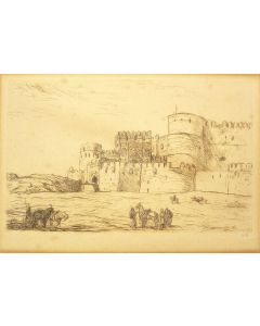 Marius Bauer, 'Het fort te Agra', ets, 1895