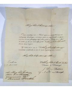 Brief met de huwelijksaankondiging van J.H. van Rechteren en G.A. de Vos van Steenwijk, gericht aan Mr. van Ewijck, gouverneur van Drente, 1835.