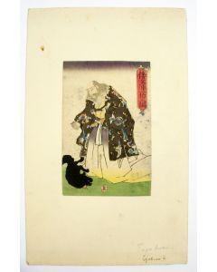 Japanse houtsnede door Kunisada, Heer met hond, ca 1850