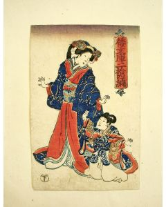 Japanse houtsnede door Kunisada, Dame met kind, ca 1850