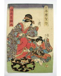 Japanse houtsnede door Kunisada, Dame met een jongen, ca 1850