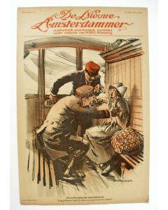 Piet van der Hem, De verhoging der spoortarieven, litho voor de Nieuwe Amsterdammer, 1917