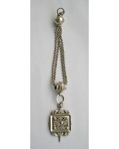 Zilveren horlogesleutel aan ketting, Eliazer Efraim Denekamp, Schoonhoven, ca. 1850