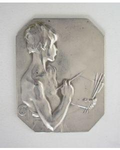 Zilveren plaquettepenning, 'La peinture' door Alexandre Charpentier, ca. 1900