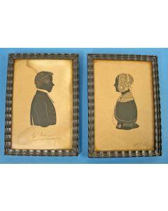Stel silhouetten in lijst, dominee Anne Johannes Molenaar (1817-1871) en zijn echtgenote.
