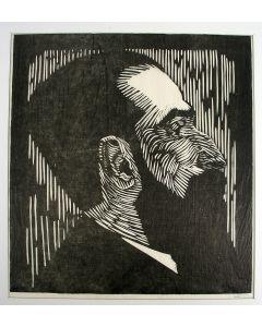 Samuel Jessurun de Mesquita, portret  van Piet Vorkink, houtsnede, 1919.