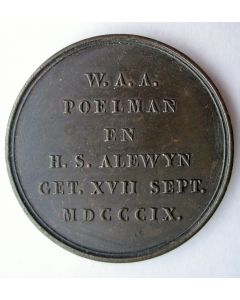 Penning ter gelegenheid van de koperen bruiloft van W.A.A. Poelman, inspecteur van 's Rijks Munt, en H.S. Alewijn, 1822