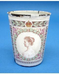 Emaille beker, Inhuldiging Koningin Wilhelmina, 1898