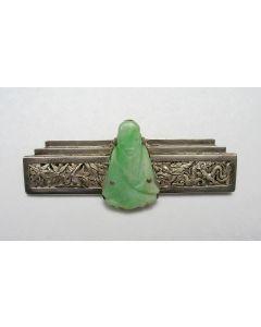 Chinese zilveren met jade broche, Art Deco periode